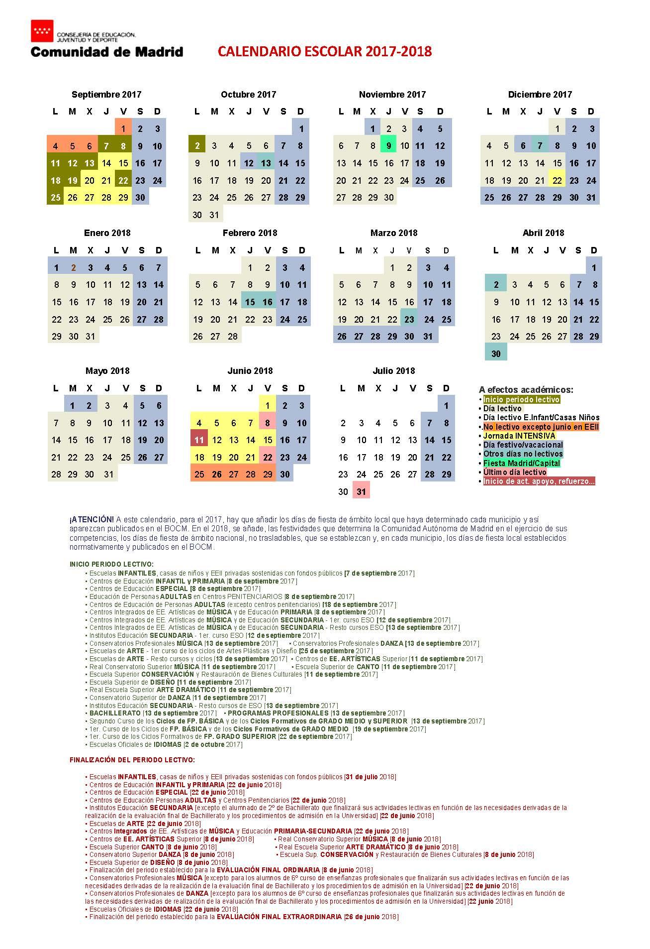 Calendario escolar cam 2016-2017